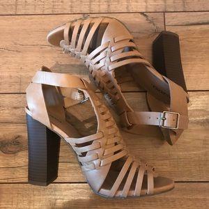 Tan Block Heel Sandals - 7